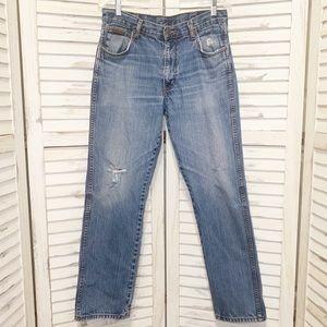 Wrangler Men's Medium Wash Distressed Jeans 33x32